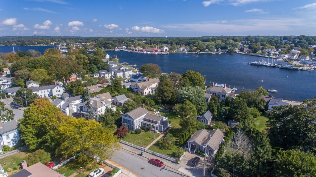 Aerial Shot of Captain Morgan House (vacation rental) and Mystic River in Downtown Mystic, CT